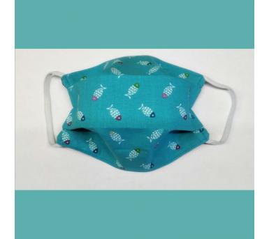 Masque en tissu lavable Turquoise motifs Poissons • Bébés Bulles