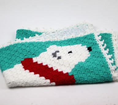 Couverture au crochet - pièce unique - Ours polaire en écharpe - Bébés Bulles • Bébés Bulles • Bébés Bulles