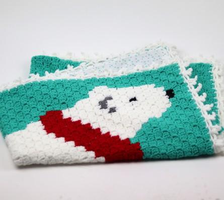 Couverture au crochet - pièce unique - Ours polaire en écharpe - Bébés Bulles