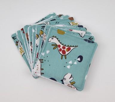 Lingettes lavables pour bébé - lot de 10 - Coton et fibre de bambou - Oeko tex- motifs Les Dinosaures - Bébés Bulles • Bébés Bulles • Bébés Bulles