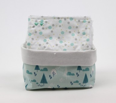 Panier et ses 10 lingettes lavables- Coton et fibre de bambou - Oeko tex - Bébés Bulles • Bébés Bulles • Bébés Bulles