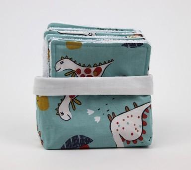 Panier et ses 10 lingettes lavables- Coton et fibre de bambou - Oeko tex - thème Les Dinosaures - Bébés Bulles • Bébés Bulles • Bébés Bulles