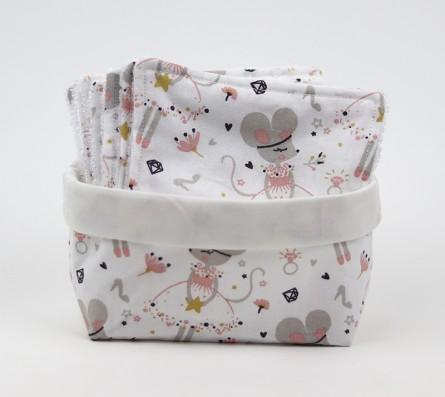 Thème la petite souris • Panier et lingettes lavables • Bébés Bulles