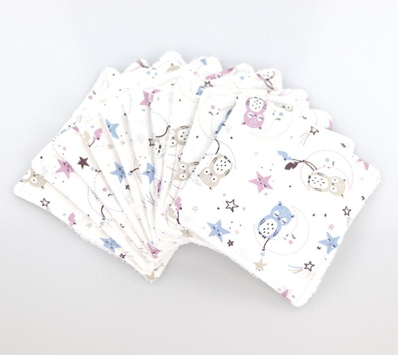 Lingettes lavables pour bébé • Thème les chouettes - Bébés Bulles