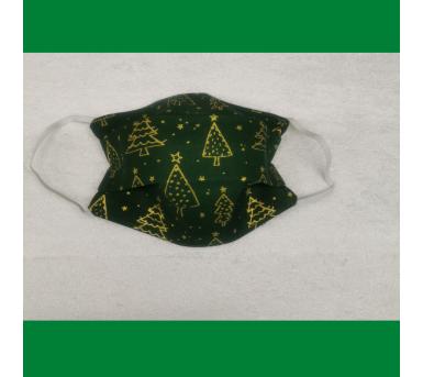 Masque lavable en tissu pour Noël - Vert et doré - Bébés Bulles • Bébés Bulles • Bébés Bulles